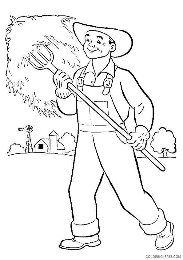 community helpers coloring pages farmer Coloring4free