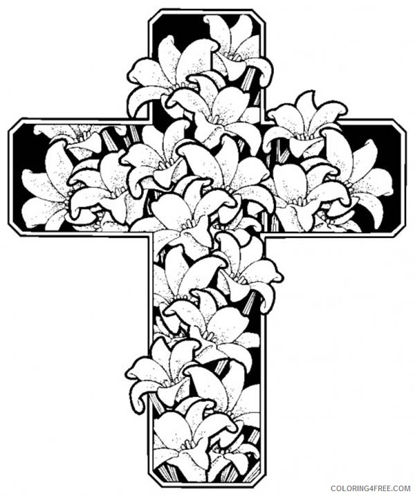 cross  flowers coloring page clipart best sketch