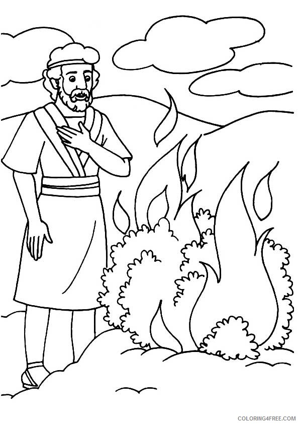 moses and the burning bush coloring pages Coloring4free