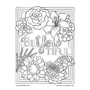"""BeYOUtiful"" Floral Coloring Page"