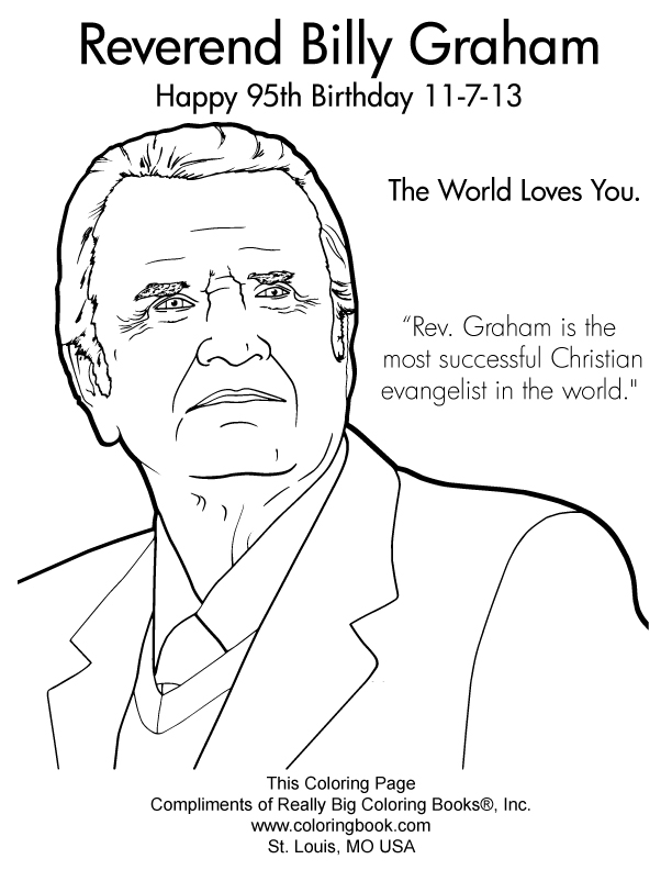 Billy Graham 95th Birthday 2013 Complimentary Coloring