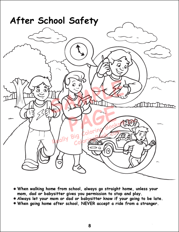 Pedestrian Safety Book Coloring Pages