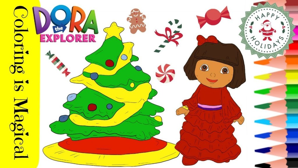 Free Printable Dora Christmas Coloring Pages Picture 1 550x734 ... | 576x1024