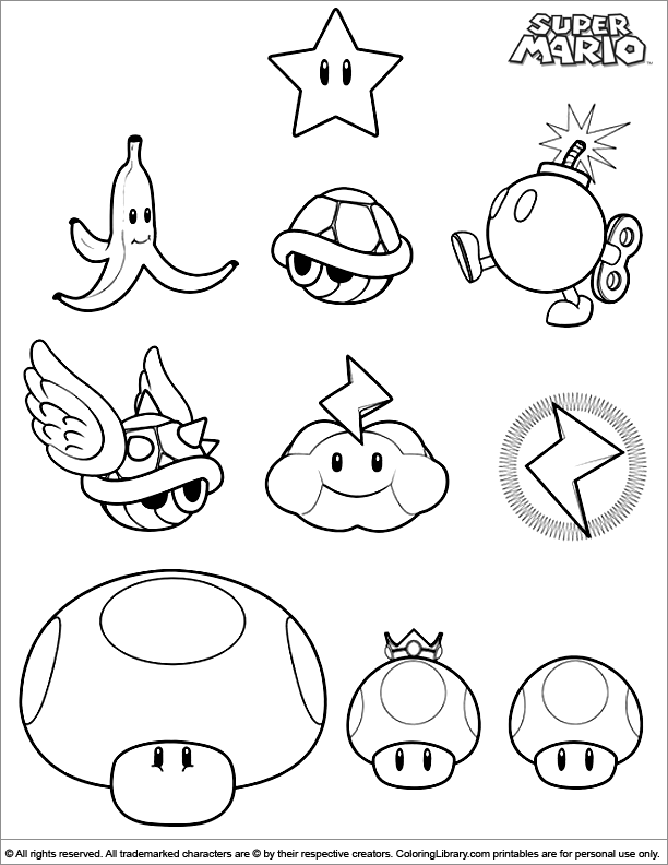 Super Mario Brothers coloring page to color for free