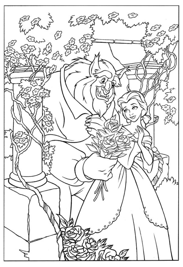 beauty and the beast coloring page # 23