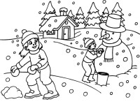 Free coloring pages of winter theme