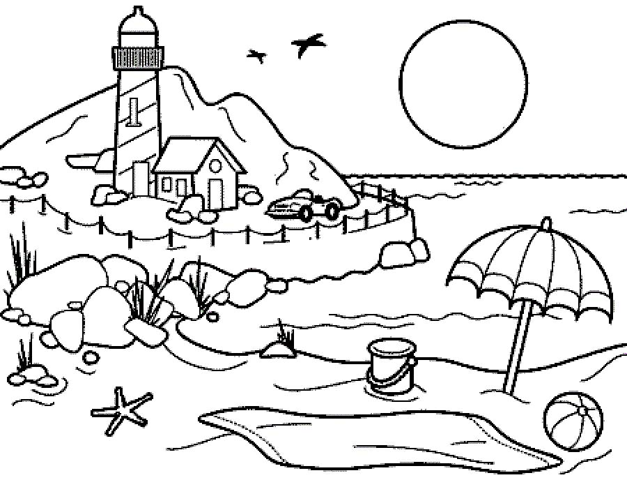 Free coloring pages of peppa seaside