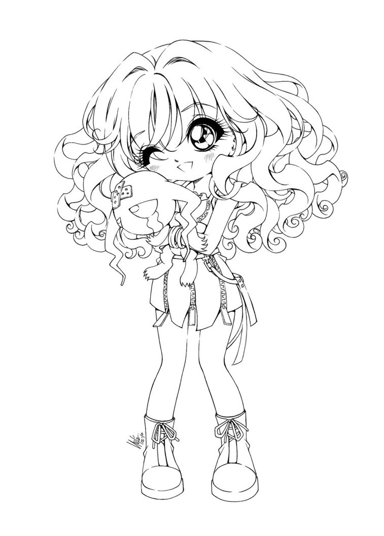 chibi girl with cat ears coloring pages