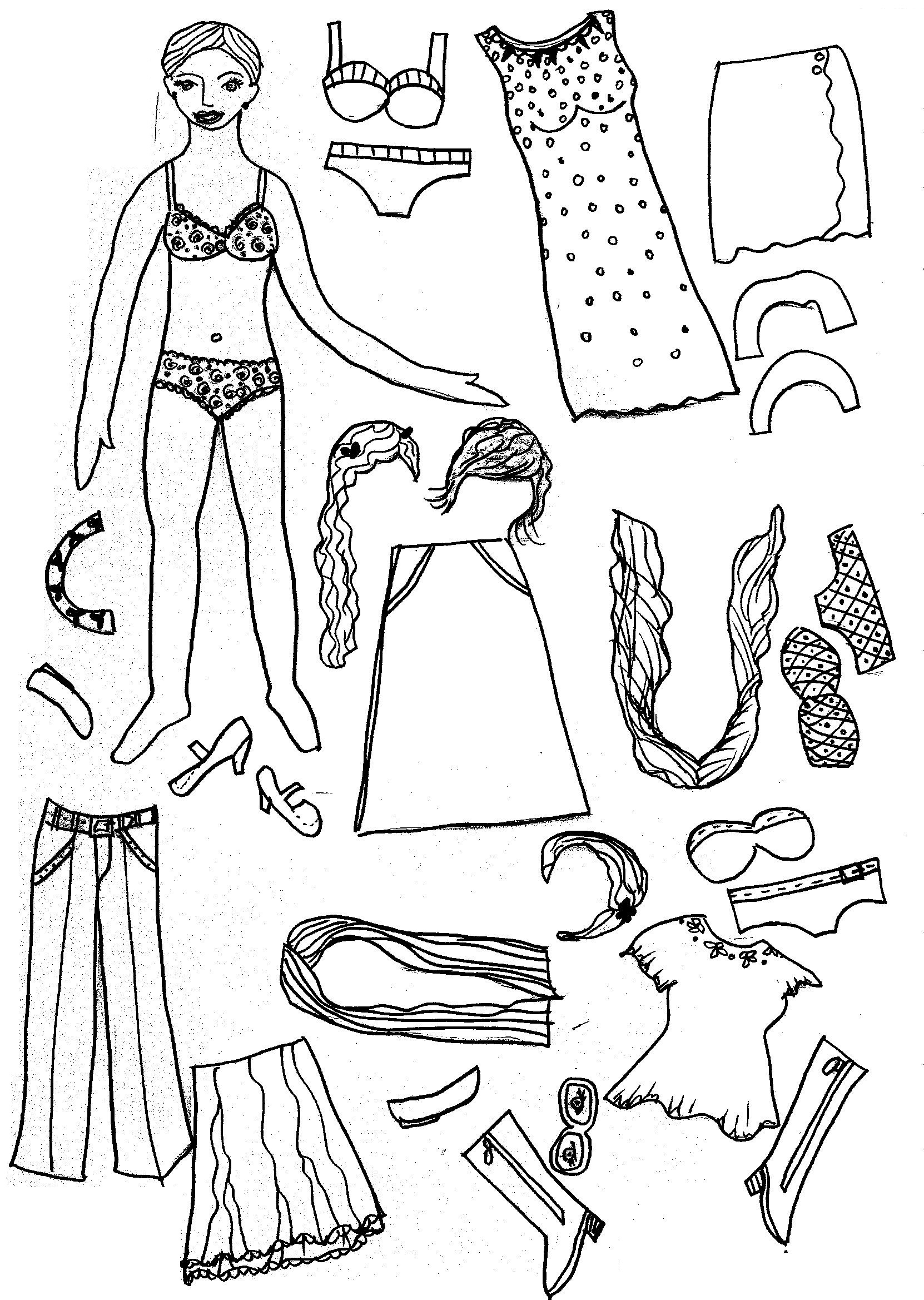 Blank Female Costume Templates Coloring Pages
