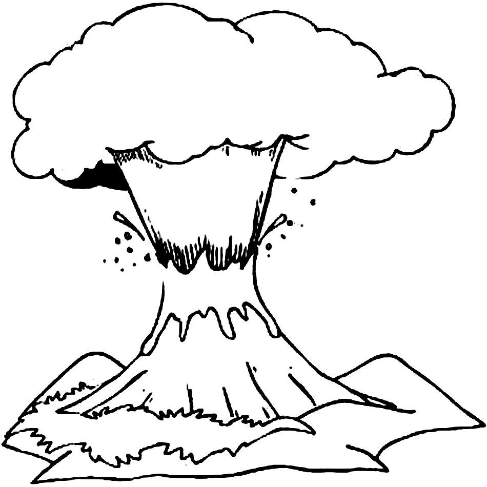 eruccion+volcano Colouring Pages