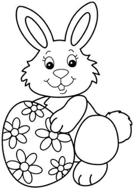 Cute Easter Bunny and Eggs coloring page | Free Printable Coloring ... | 635x450