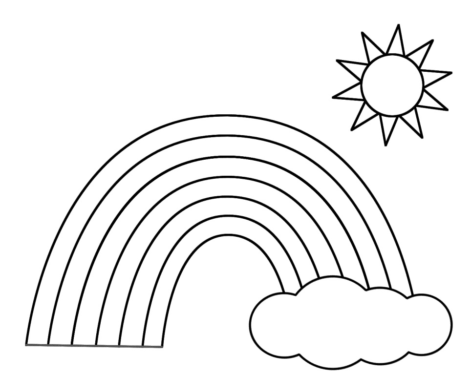 Rainbow Scene Coloring Page Sketch Coloring Page