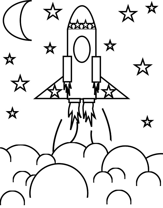 rocket ship coloring pages # 11