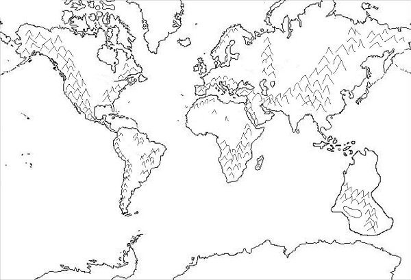 Printable World Map 7 Continents Sketch Coloring Page