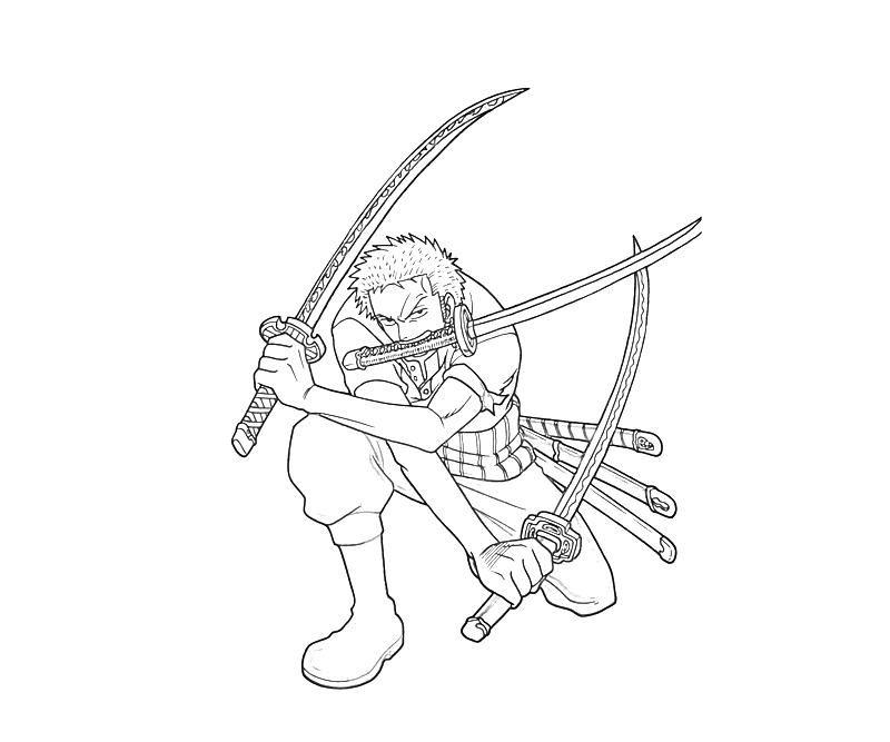 One Piece Roronoa Zoro Coloring Page Free Printable