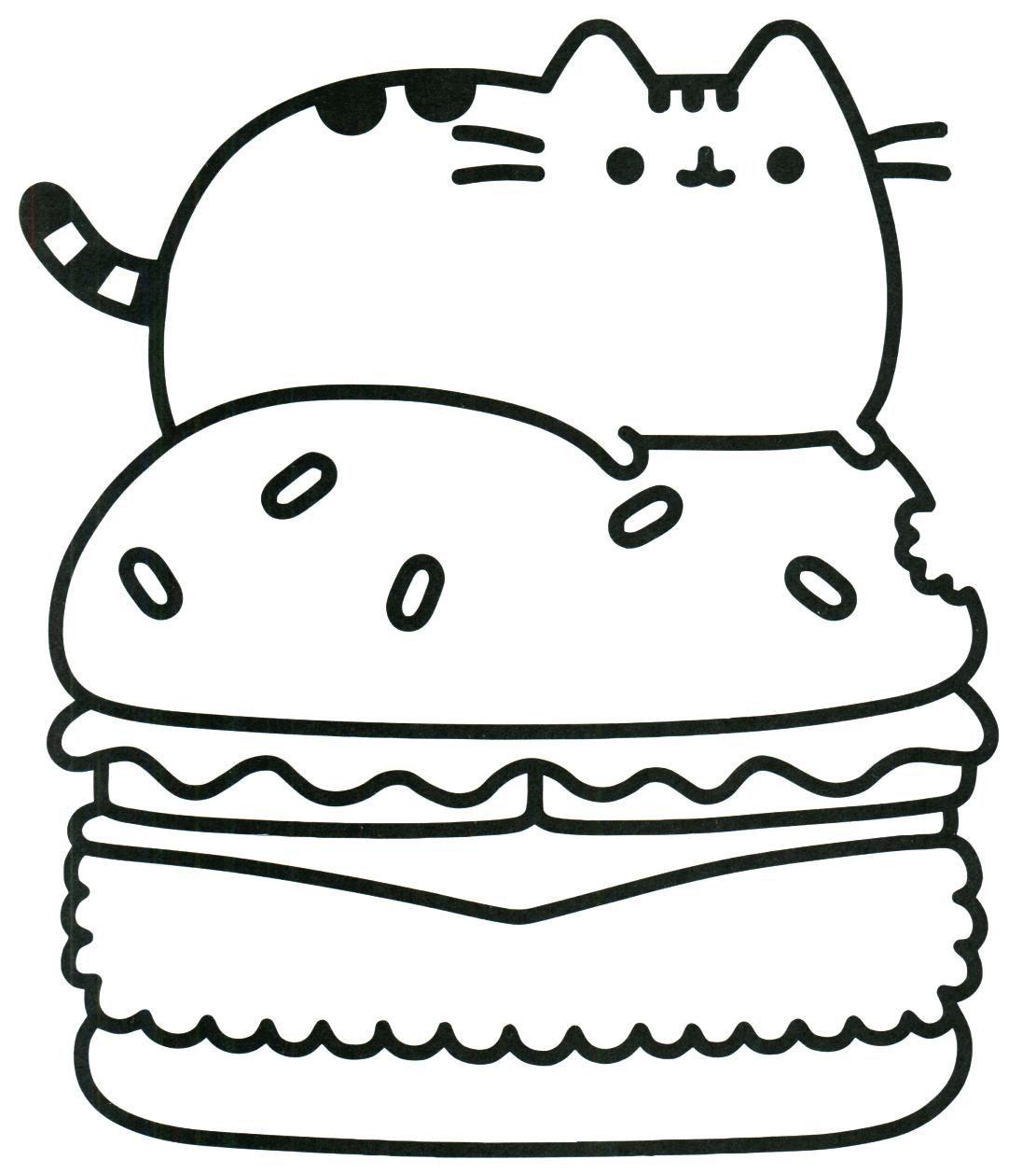 Pusheen On Hamburger Coloring Page