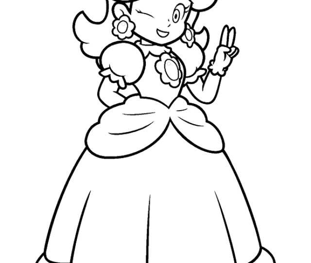 Happy Princess Peach Coloring Page Free Printable Coloring Pages