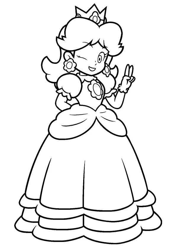 happy princess peach coloring page  free printable