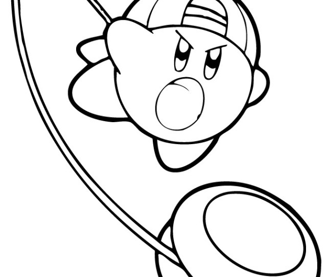 Kirby Playing Yoyo Coloring Page Free Printable Coloring Pages