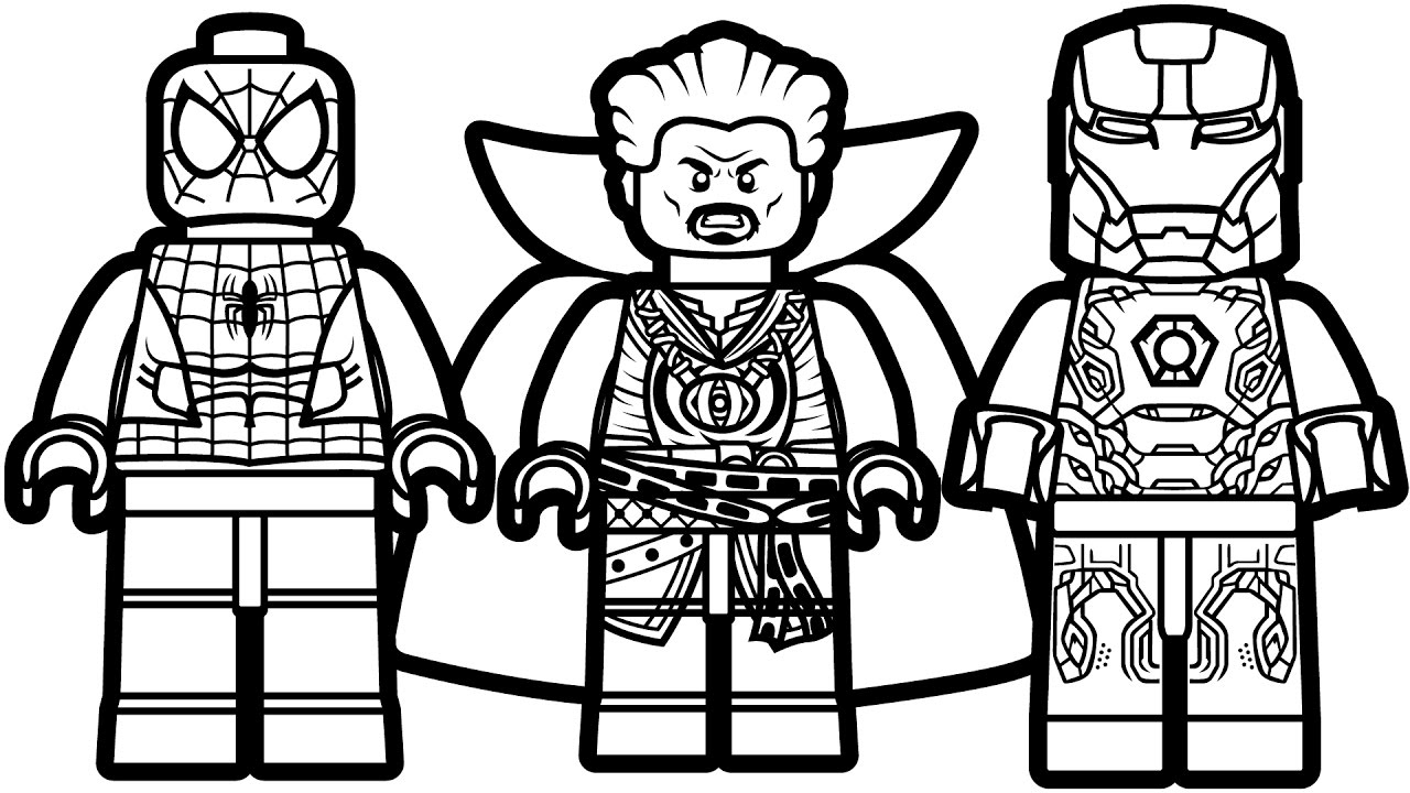 Lego: Spiderman, Doctor Strange And Iron Man Coloring Page