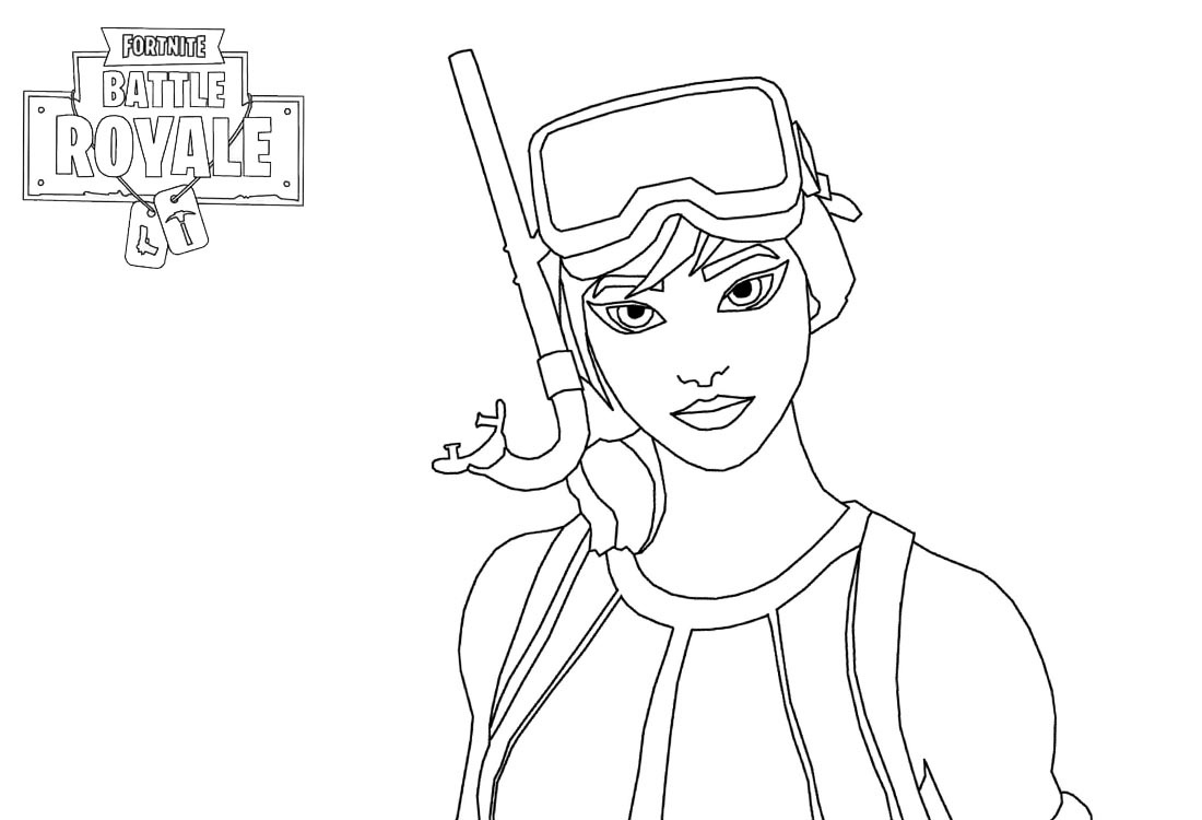 Girl Character Of Fortnite Battle Royale Coloring Page