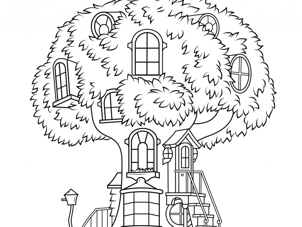 Awesome Tree House Coloring Page