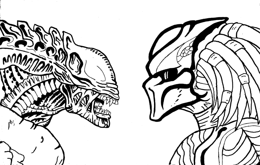 alien and predator coloring page  free printable coloring