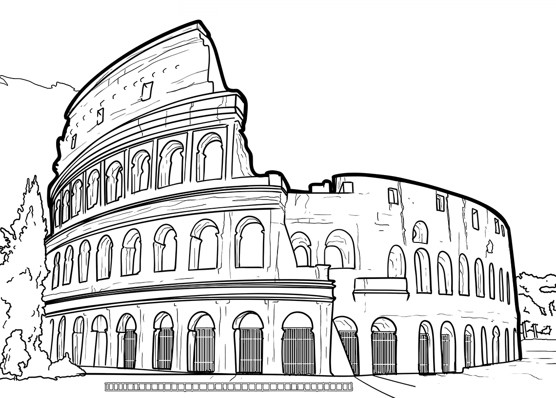 Colosseum Of Rome Coloring Page