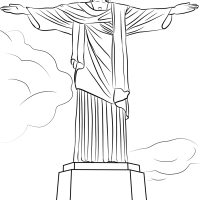 Christ The Redeemer Statue Sketch Coloring Page