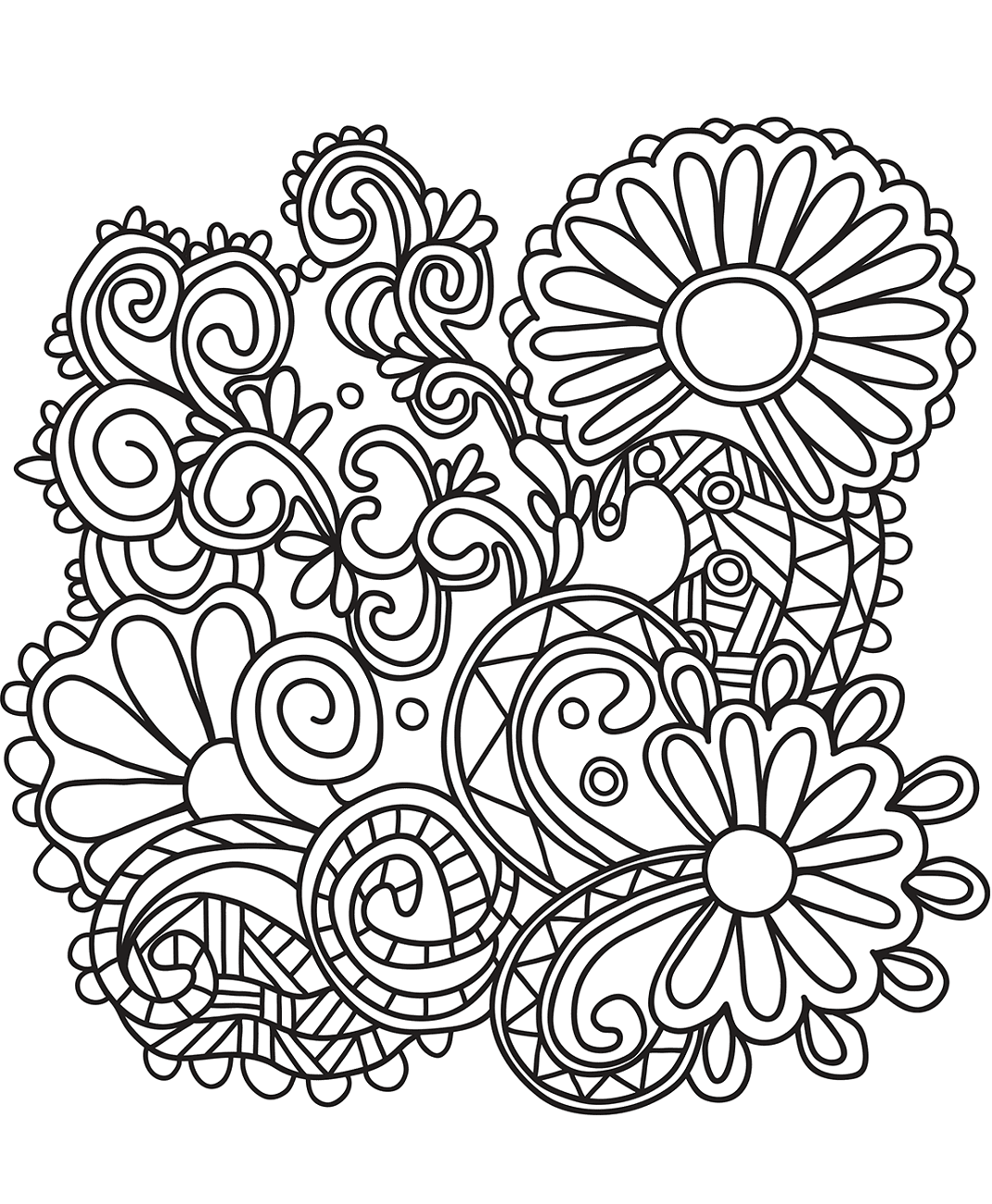 Sunflowers Doodle Art Coloring Page