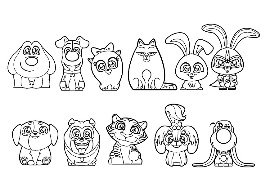 The Secret Life Of Pets Cute Characters Coloring Page