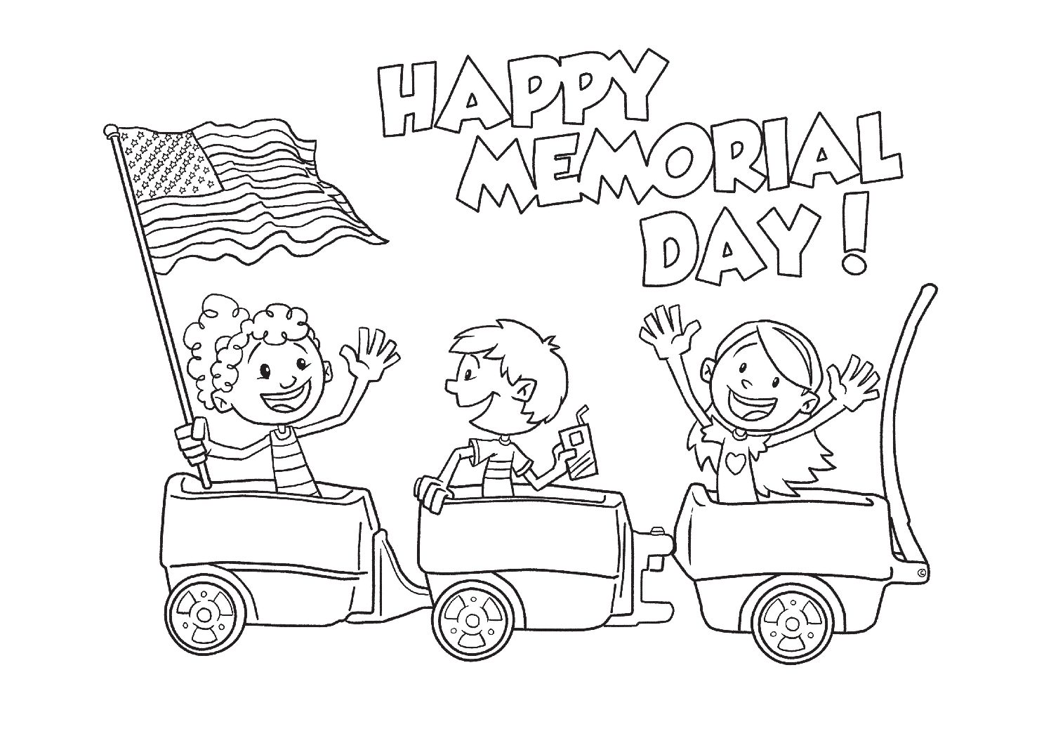 Happy Memorial Day Coloring Page
