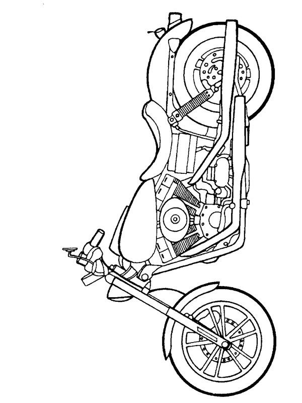 colouring page Harley Davidson Dyna Super Glide