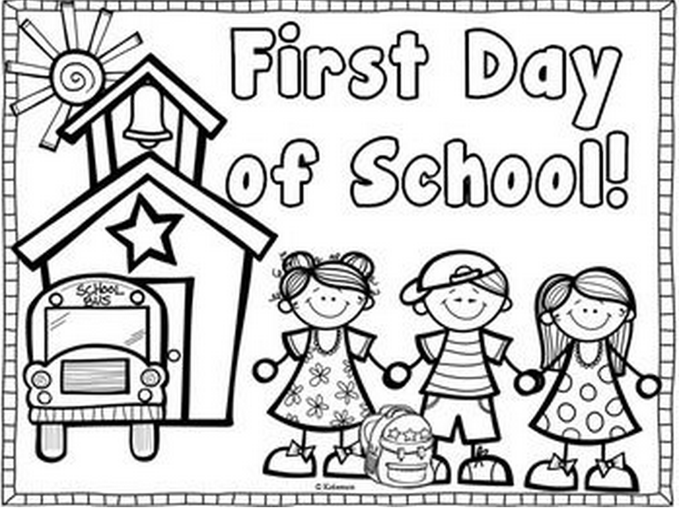 First Day of School coloring page & book for kids.