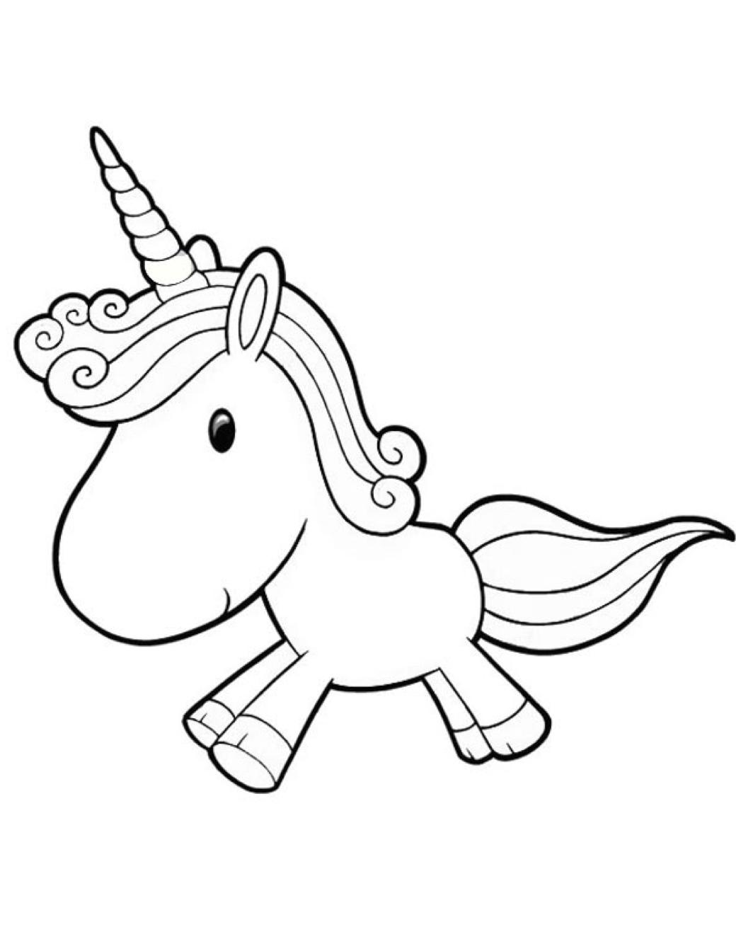 Cartoon Unicorn Coloring Page Coloring Book