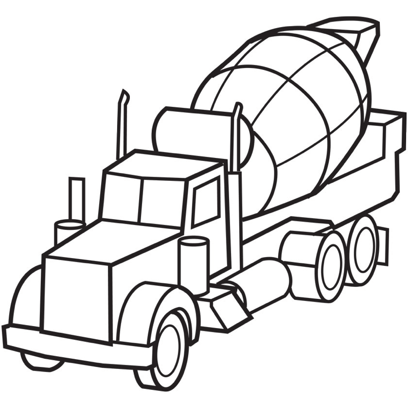 Cement Truck Coloring Page coloring page & book for kids.