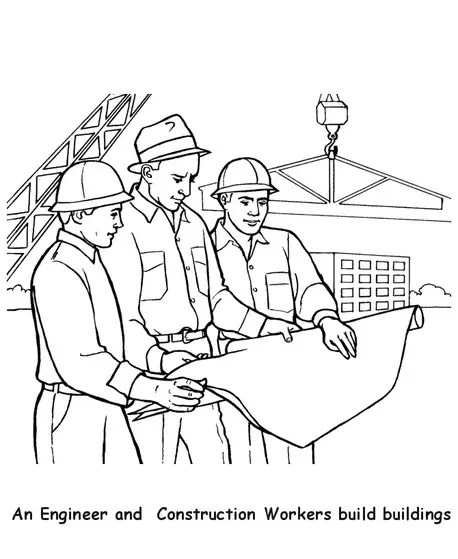 Construction Workers Coloring Page coloring page & book