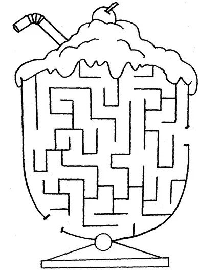 Ice Cream Printable Maze coloring page & book for kids.