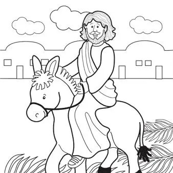 Jesus Rides Donkey Coloring Page & Coloring Book