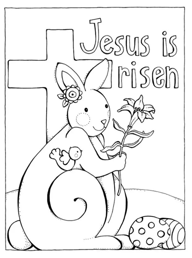 Jesus Easter Sunday Coloring Page coloring page & book for