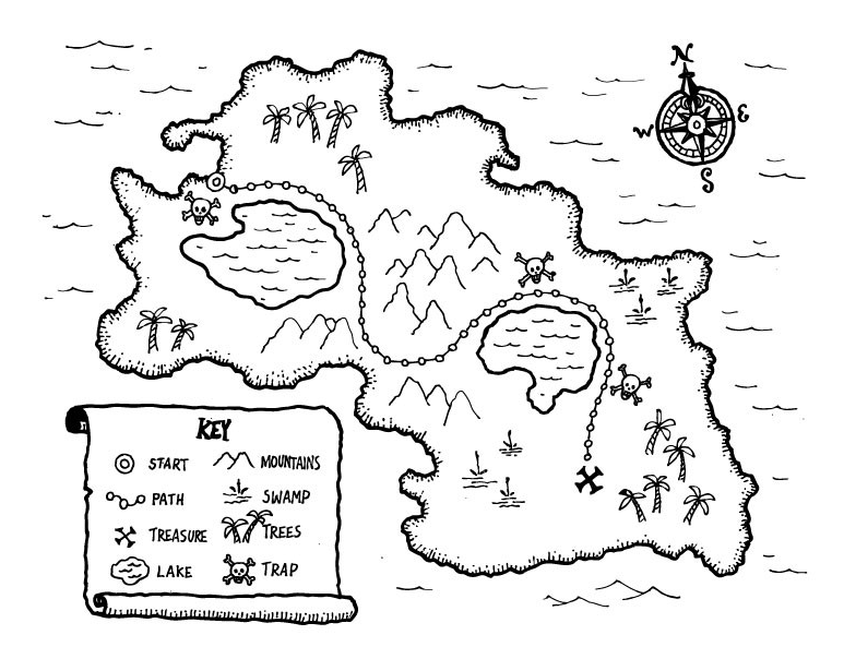 Kids Treasure Map coloring page & book for kids.