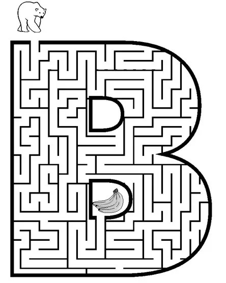 Letter B Coloring Maze & Coloring Book