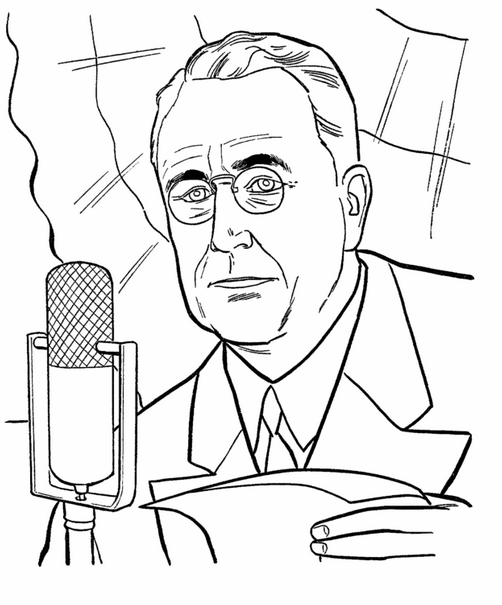 US President Franklin D Roosevelt Coloring Page & Coloring