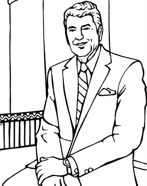 Printable president-ronald-reagan-coloring-page