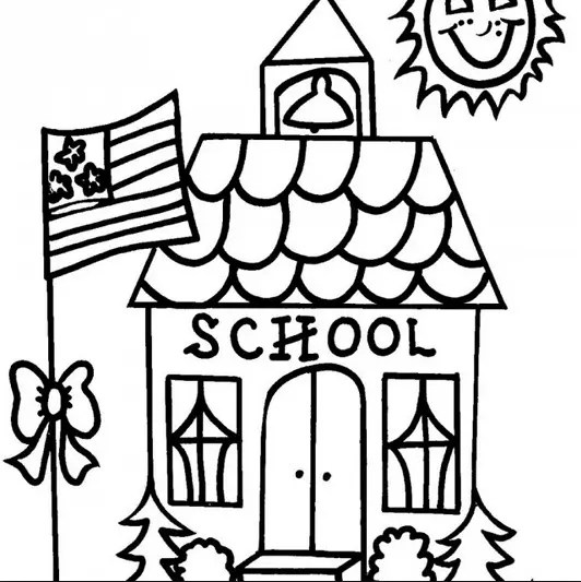 School House Coloring Page & Coloring Book
