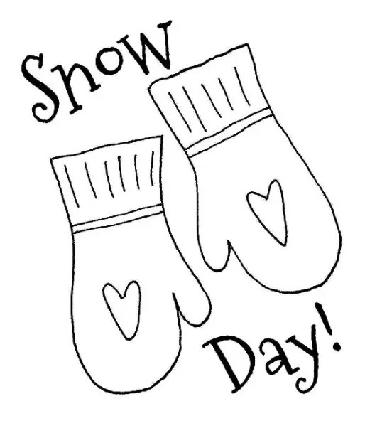Snow Day coloring page & book for kids.