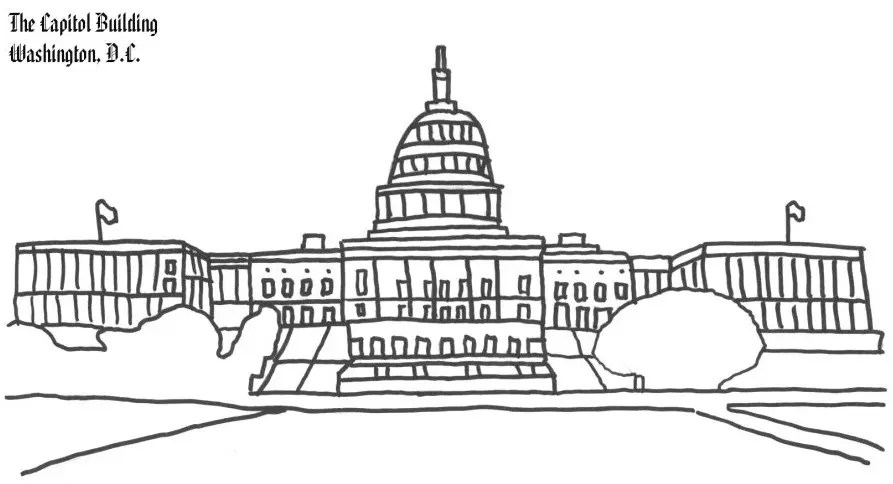 Washington DC Capitol Building Coloring Page coloring page