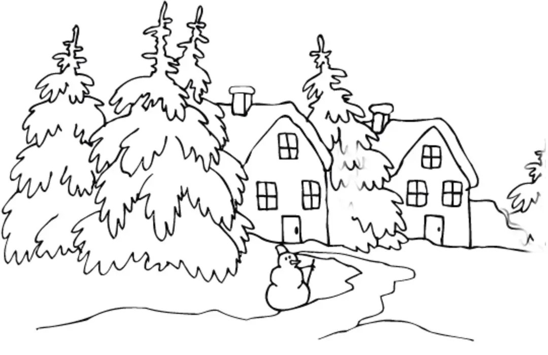 Winter Cabin Coloring Page & Coloring Book