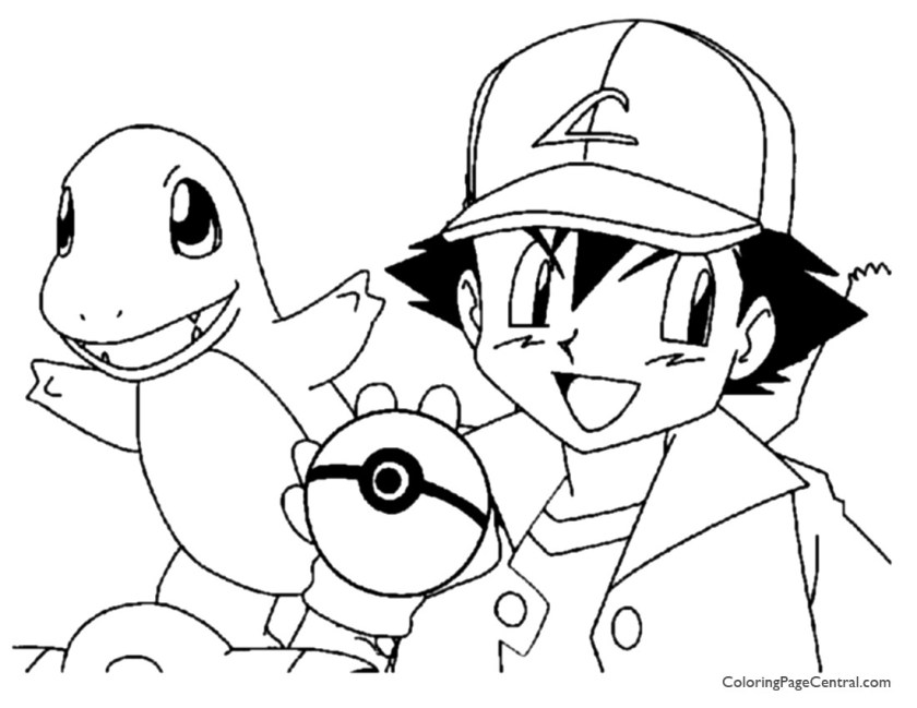 pokemon – ash coloring page 01  coloring page central