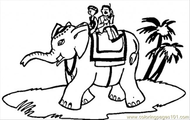 Ride On Elephant Coloring Page